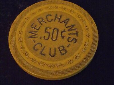MERCHANTS CLUB CASINO (VTG) $0.50 (50¢) ILLEGAL gaming chip ~ Newport, KY