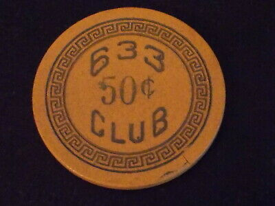 CLUB 633 CASINO $0.50 (50¢) hotel ILLEGAL casino gaming chip ~ Newport, KY