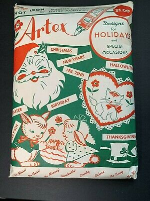 Vintage large Artex Holiday & Special Occasion Iron-On Transfer 8 unused sheets