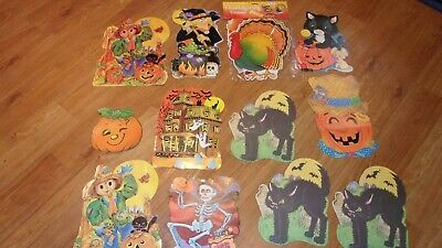 Vintage lot of Diecut Cardboard Halloween Decorations Double sided-some flocked