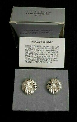 Beautiful Avon Sterling Silver Clip Earrings Floral Motif New Old Stock