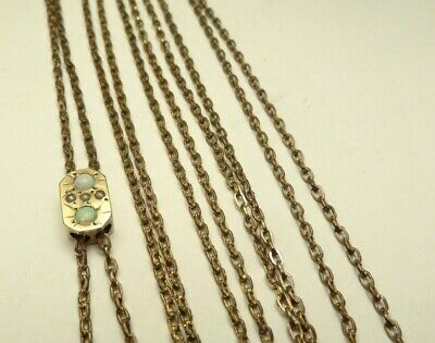 Antique Victorian Opal Pearl Slide Gold Filled Pocket Watch Holder Or Necklace