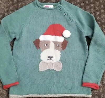Mini boden Girl's sweater green dog Christmas size 7-8 Y/ 7