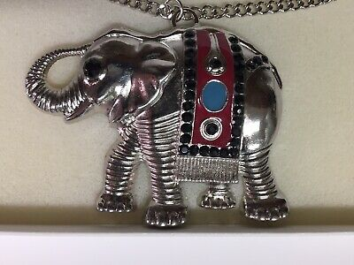 Elephant Pendant Necklace Lg Silvertone w/ Enamel & Stones Stocking Stuffer!