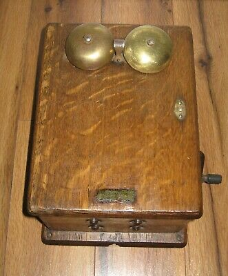 Antique Western Electric Hand Crank Oak Box Ringer 48A Magneto Dovetailed Nice