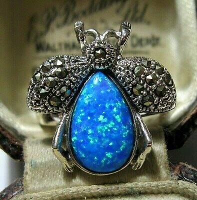 Vintage Style Art Deco Sterling SILVER Marcasite Gilson Fire Opal BEE RING P 1/2