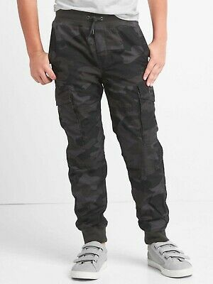 GAP Kids Boys Jersey Lined Cargo Jogger Pants Age 10-11 Years NEW Grey/Black