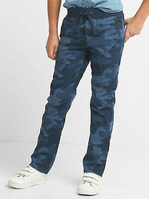 GAP Kids Boys Chino Pull On Jogger Pants Trousers Age 10-11 Years NEW Blue Camo