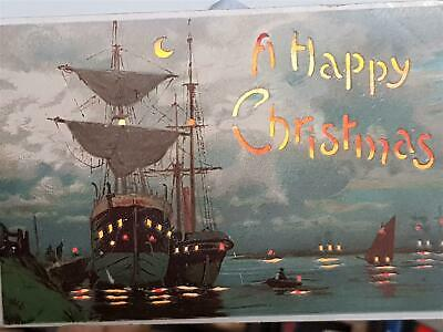 1900`s Antique Postcard Hold To Light Christmas Sailing Ships in Port Unused
