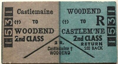 VR Ticket - CASTLEMAINE to WOODEND - 2nd Class Return
