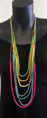 Necklace Rainbow  multi colours, Little wooden & metal beads 7 layer Boho  style