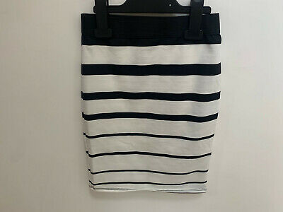 Girls ex River Island White Skirt with Black Stripes Age 5-6 Years Old