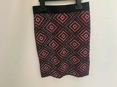 Girls ex River Island Red Diamond Patterned Skirt Age 7-8 Years Old
