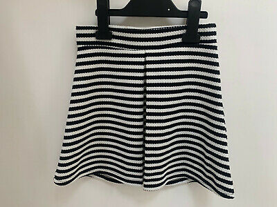 Girls ex River Island White and Black Striped Skirt Age 7-8 Years Old