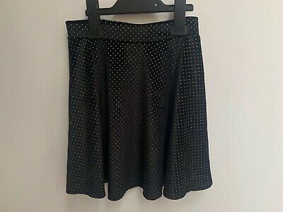 Girls ex River Island Dotted Black Skirt with White Spots Age 9-10 Years Old