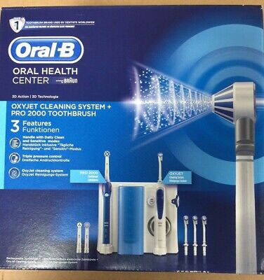 Braun Oral-B Oxyjet Cleaning System + PRO 2000 Rechargeable Toothbrush - NEW