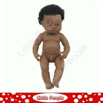 Miniland Anatomically Correct Baby Doll African Boy (undressed), 38 cm