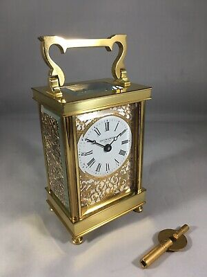 English 8 Day Taylor & Bligh Carriage Clock Rare Gold Filigree