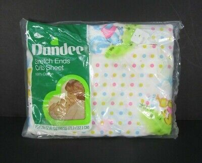 Vintage New Dundee Crib Sheet Stretch Ends Pastel Bears Dots Squirrel Colors