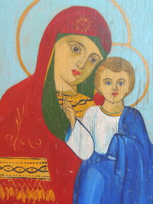 Antique Vintage Old Hand Oil Painting On Wood Christian Icon Virgin Mary Jesus