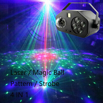 Strobe Magic ball Pattern 4 IN 1 LED Laser foot light Sound Activated Projector