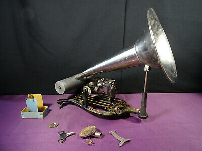ancien phonographe lyre complet