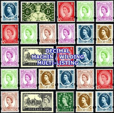 1998-02 Wilding Decimal Definitives  (Multiple Listing) Unmounted Mint