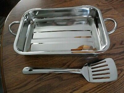 "Stainless Steel Lasagna Tray/Pan w'Turner - Essential Home 14"" X 10"""