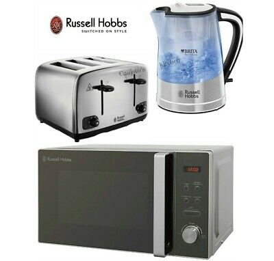 Russell Hobbs Kettle and Toaster & Microwave Brita Kettle 4-Slot Toaster Silver