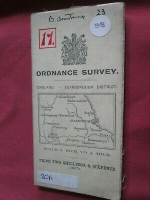 "Ordnance Survey map 1"" England Scarborough District 1906 cloth VVGC"