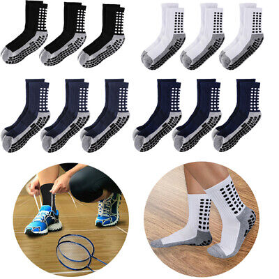 3Pairs Anti Slip Non Skid Slipper Hospital Socks with grips for Adults Men Women