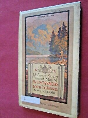 "Ordnance Survey  1"" Tourist map Trossachs and Loch Lomond 2nd ed.1929 cloth  VGC"
