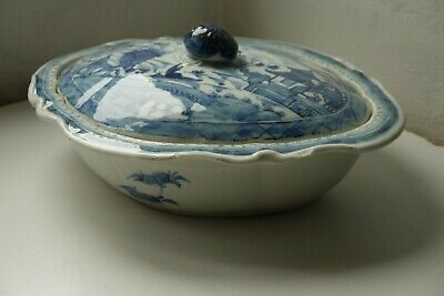 Chinese export porcelain blue and white tureen - early C19th