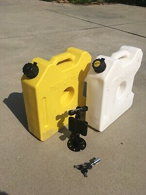 Two ROTOPAX 3-gal DIESEL & WATER JERRY CANS, Mount, Extension & Lock