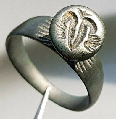 Large Byzantine Serbia Billon Stamp Ring Two Headed Eagle