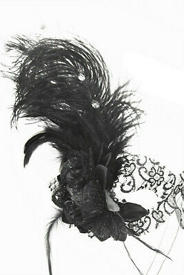 Burlesque Hen Party Black Lace Eye Or Stick Mask With  Fascinator Feather New