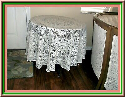 Gorgeous Vintage Round Quaker Lace Tablecloth With Great Floral Design