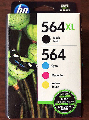 4-Pack HP Genuine 564XL Black & 564 Color Cyan Magenta Yellow Inks PhotoSmart