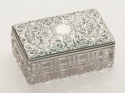Antique Silver & Cut Glass Engraved Vanity/ Perfume Toiletry Jar Hallmarked 1877