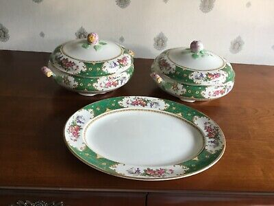 Pair Victorian Decorative Tureens By Bridgwood +Serving Plate. Demitasse Green.