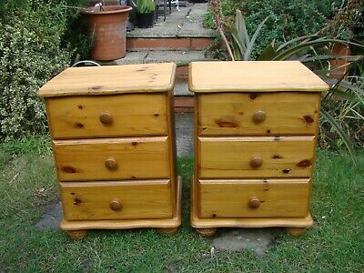 2 x Solid Pine 3 Drawers Bedside Cabinet Unit Chest Bedroom Lounge Furniture