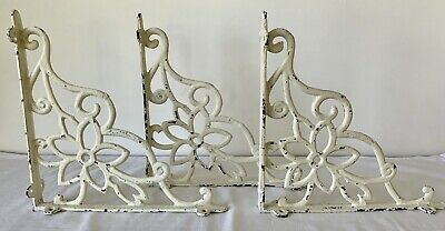 """SET of 3 CAST IRON FLORAL STYLE brace/bracket 6"""". Painted White, Distressed."""