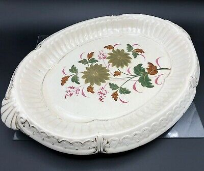 Antique Large Ceramic Oval Dish Serving Platter with Hand Painted Gold Flowers