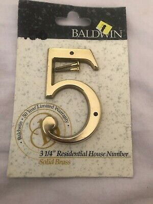 """Baldwin #7 Solid Brass Residential House Brass Numbers 5/"""" Hand Crafted New"""