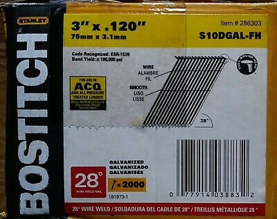 "Bostitich 3""×120"" 28° Wire Weld Smooth Galvanized Framing Nails S10DGAL-FH"
