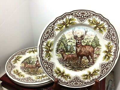 Royal Stafford- Victorian English Pottery Deer-Stag Dinner Plates -4 England NEW