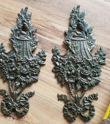Antique Brass French Chateau Ornate basket Furniture Mount architecture