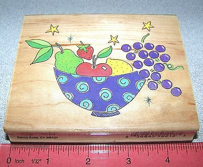 Star Fruit Bowl Stamp Rubber Mounted Apple Strawberry Pear Grapes in a Bowl