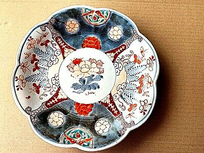 ANTIQUE Japanese PORCELAIN PLATE  22 cm SCALLOPED EDGE Arita IMARI PATTERN