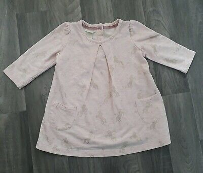 Baby Girl Monsoon Tunic Top Size 3-6 Months Pink Unicorn Gold Shimmer Star